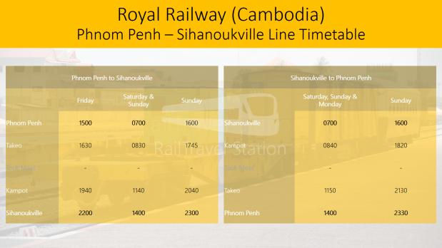 Royal Railway Cambodia Phnom Penh Sihanoukville Line Timetable 20180404.png